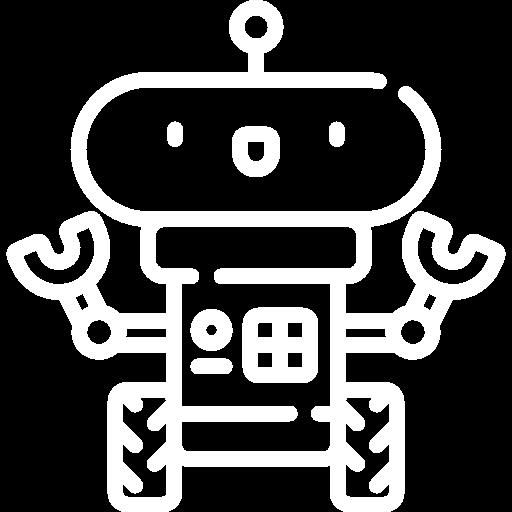 white line art Robot