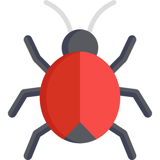 404 page, red insect on the screen